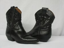 Vintage Bandolino Black Leather Cowboy Western Ankle Boots 6.5 Made In Brazil