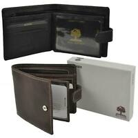 Mens Leather Compact Tabbed Wallet by Woods Great Value Stylish Gift Box
