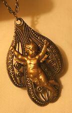 New listing Lovely Open Lobed Metal Beaded Sculpted Cherub Angel Cross Brasstone Necklace