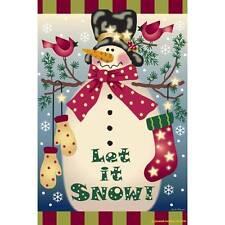 Jeremiah Junction Garden Flag (LET IT SNOW)  Winter Snowman Indoor Outdoor NIP