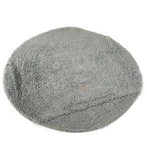 Round Grey Cotton Tufted Absorbant Bathroom Shower Bath Rug Anti Non Slip Mat