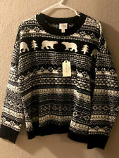 Womens Black Bears Winter Sweater Size  2XL NWT Fair Isle