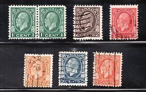KGV Used 1932 Medallion postage stamp set - #195-200 - superfleas