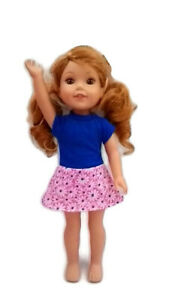 """Daisy Dress fits Wellie Wisher 14.5"""" Doll Clothes Blue with Pink/White Daisies"""