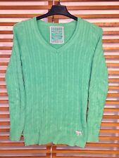 Pink Victoria's Secret Women's S Sweater Green Tunic cable knit v-neck dog Logo