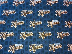 "NEW MLB COTTON Fabric FAT QTR 1/4yard=18""x22"" DETROIT TIGERS BLUE ""D"" DIY MASK"
