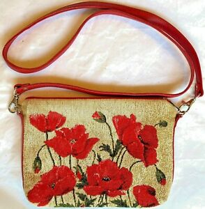 BELGIAN TAPESTRY EVENING STYLE BAG 22CM X 16CM, POPPIES BEIGE BACKGROUND, 10218