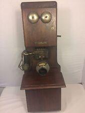 Antique Telephone Stromberg-Carlson wooden wall Cardholder Rings Magneto