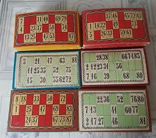 French vintage lot of 90 mixed coloured bingo cards