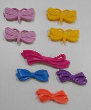 """8 Plastic Vintage Girls Hair Barrettes Butterflies & Bows 1 1/2""""-2 1/2""""L"""