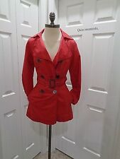 Jacqueline Riu Long Coat Racer Back Light Wind RED Belted Luxury SZ 36