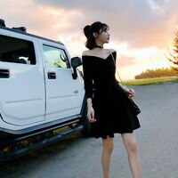 Chic Womens Off Shoulder Long Sleeve Cocktail Party V Neck Short Dress Black