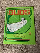 Original Atari Subs arcade game owners manual