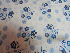 "1 WAY STRETCH JERSEY T-SHIRT FABRIC~SEW--BLUE WHITE FLOWERS 1 YD 24""--SALE"