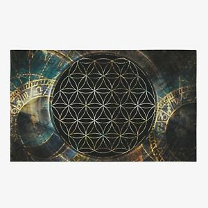 Sacred Geometry Area Rug flower of life Rug spiritual Rug black Floor Rug large