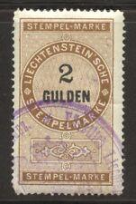 Liechtenstein 1879 Revenue 2 Gulden used, faults