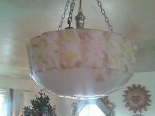 RARE MAGNIFICENT MOULDED SWAG YELLOW PURPLE ART DECO CEILING LIGHT PENDANT SHADE