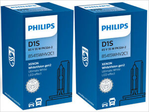 2x NEW PHILIPS WHITE VISION D1S 85415 WHV2C1 5000K XENON HID HEADLIGHTS GERMANY