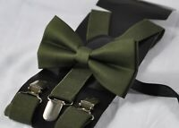 Dark Olive Green Army Green Cotton Bow Tie + Suspenders Braces for All Ages