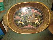 ANTIQUE PERSIAN ISLAMIC HAND PAINTED AND CARVED  HUNTING SCENE