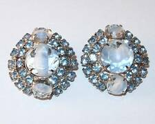 Vintage Chunky Round Silvertone Blue Givre Glass & Rhinestones Clip Earrings