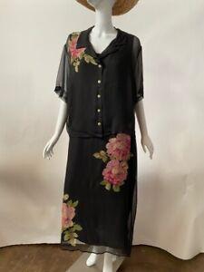 Robbie Bee Womens 2 Piece Jacket Dress Set Black Floral Short Sleeve Plus 18W