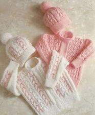 """Baby's Sweater Cardigan and Hat Knitting Pattern in DK 20-26"""" Boys Girls 520"""