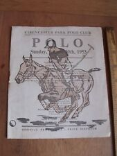 Cirencester Park Polo Club Offical Programme Sunday 30th Aurgust 1953