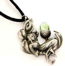 Greenwood Acorn Faerie Amulet Pendant Necklace Pewter Green Crystal GW10