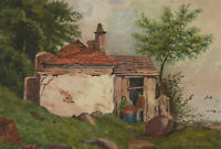 Late 19th Century Watercolour - Figures Outside a Rural Cottage