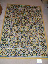 WILLIAMS & SONOMA HOME HAND CREWEL WOOL YELLOW & BLUE 4' X 6' FT. AREA RUG
