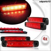 4 X 12 Volts Rouge 6 Led Feux De Gabarit Camion Caravane Chassis Remorques