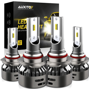 4X AUXITO 9005 9006 LED Headlight Kit Combo Bulb High Low Beam Super White EXC