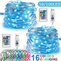 5/10M USB 50/100 LED RGB String Fairy Light Strip Xmas Decor W/24 Key Remote