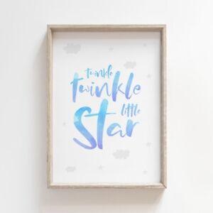 Twinkle Twinkle Little Star Blue Nursery Print Picture Wall Art Baby Bedroom