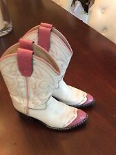 Old West Leather Boots Cowboy Girls Pink Whit Size 12.5