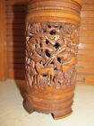 Chinese Carved Brush Pot Relief Dragon Pheasant Deer Many Animals