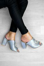 Womens Ladies Low Heel Peep Toe Mules Open Back Slip On Sandals Shoes Size