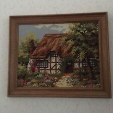 handgesticktes Gobelin-Bild im Holzrahmen * ca. 36 x 30 cm * Landhaus