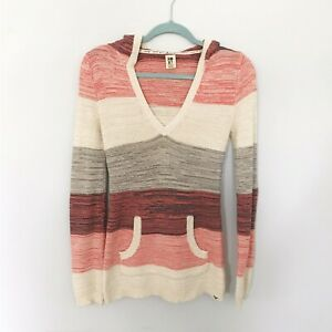 ROXY PINK STRIPED LONG SLEEVE KNIT SWEATER WITH HOOD SIZE EXTRA SMALL