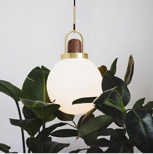 Nordic White Glass Ball Pendant Ceiling Light Brass Kitchen Hanging Lamp Fixture