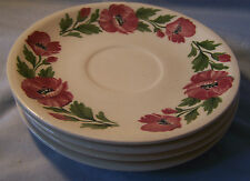 4 Paden City Pottery Shenandoah Ware Red Poppy Floral Saucers
