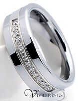 Mens Tungsten Carbide Wedding Ring 13 CZ Mens Band 8mm Size 7.5 to 14.5