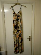 Stunning black yellow orange psychedelic floral print strappy dress 8 70s style