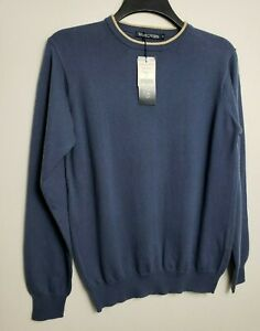 WOOLOVERS MENS JUMPER SWEATER S SAND NAVY BLUE COTTON & CASHMERE 583