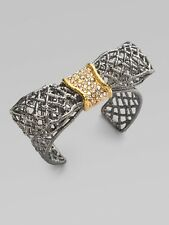 Alexis Bittar Gunmetal Bow Cuff Bracelet with Swarovski Crystals, NWT