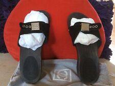 $450 NEW CHANEL Classic Black Wood  Clogs  CC Logo Slides Sandals Size 36