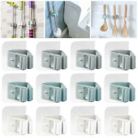 12 pcs Mop Broom Racks Gripper Holders Hangers Clips for Bathroom Kitchen Garage