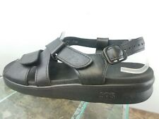 SAS Relaxed Black Leather Adjustable Strap Casual Comfort Walking Sandals 9.5W