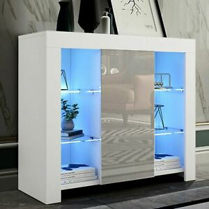TV Unit Gloss White LED Sideboard Cupboard Display Cabinet TV Stand Living Room